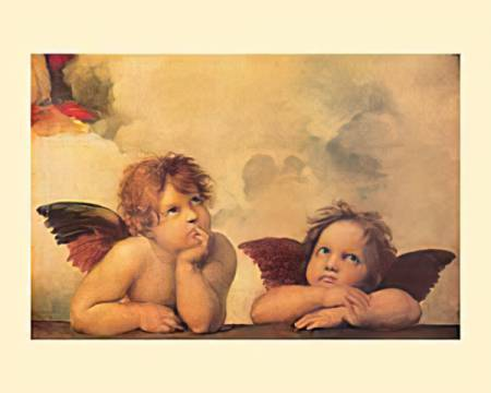 Madonna Sistina of artist Raphael, Angel, Angels, Madonna, Putto