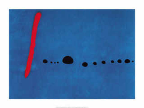 Blue II of artist Joan Miró, Abstract, Abstractedly, Abstractly, Bleu, Blue, Colors, Colours, Disposition