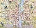 Caroline Naudet - 'Plan de la Tapisserie', map of Paris, originally a tapestry made in c.1570, 1818