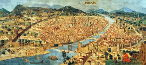 Italian school the 39 carta della catena 39 showing a for Firenze medievale