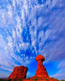 First Light (F1 Online) - Balanced Rock with cloud formations, Arches National Park, Moab, Utah, USA