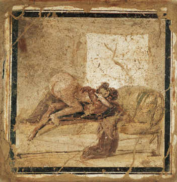1. Jahrhundert - Erotic scene / Roman wall-painting