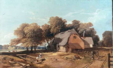 Feeding the Fowl-possibly the Old Saw Mills, Gunton Park of artist John Middleton, 1828-1856, 47cm, Breeding, Canvas, Date, England, Feeding, Fowl-possibly