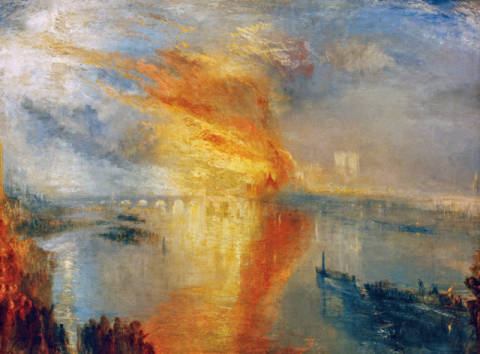 The Burning of the Houses of Lords and Commons, October 16, 1834 von Künstler Joseph Mallord William Turner, Brand, Britain, Brucke, Bruecke, Brücke, England, Englische, Erdkunde