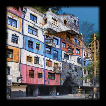Hundertwasser House Vienna of artist Friedensreich Hundertwasser as framed image
